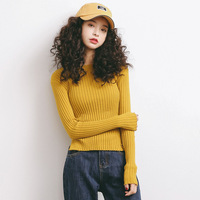 2017 Autumn New Sweater Korean Elasticity Was Thin Round Collar Slim Shirt Female A922