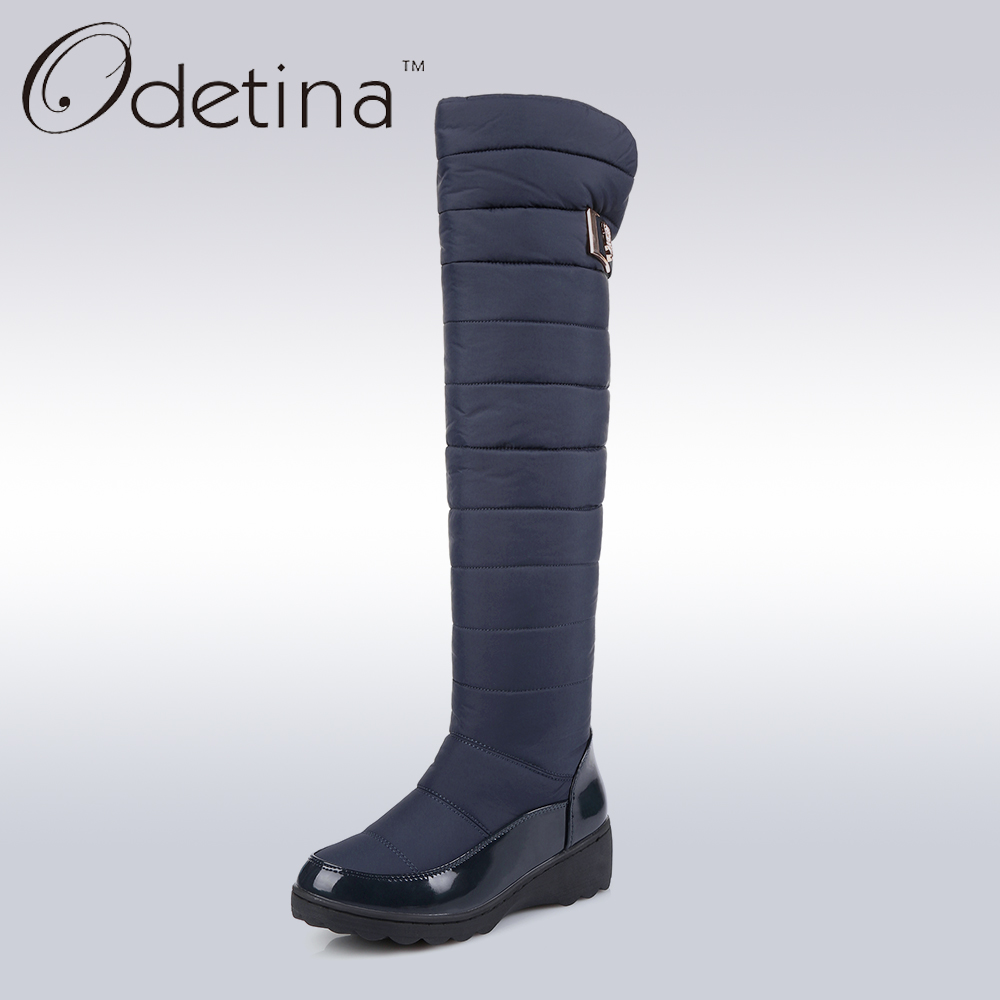 Odetina Women Long Warm Snow Boots Black Over The Knee -7722
