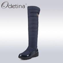 Odetina Femmes Long Chaud Neige Bottes Noir Sur Le Genou bottes Femmes Cuissardes Bottes Plate-Forme 2016 De Mode Femmes D'hiver chaussures