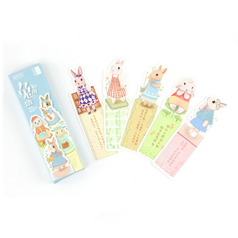 8packs/lot lovely rabbit shape paper bookmark notebook page holder message cards for reader stationery wholesale(China)