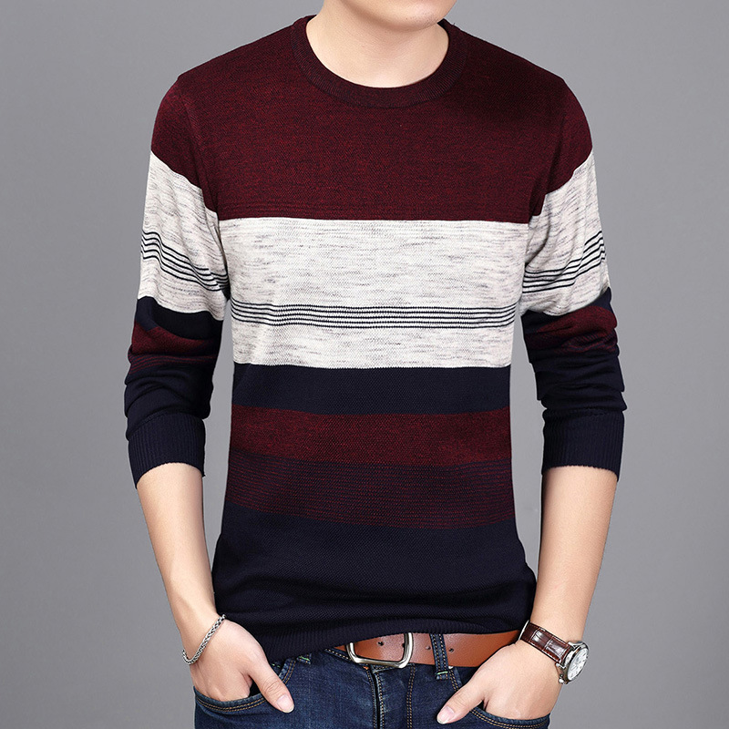 Sweater Pullover Men 2017 Male Brand Casual fashion Slim Warm Wool Knitted Pullover Striped Sweater Men Autumn Sweaters