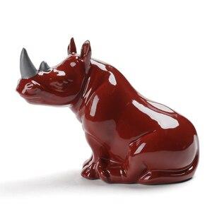 Image 5 - Фарфоровая фигурка носорога, миниатюрная Керамика ручной работы, Фигурка Носорога, Африканские Дикие животные, ремесло, украшение для дома, художественная коллекция