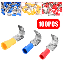 100pcs PVC Insulation Spade Piggyback Female Male Terminal Crimp 10-22AWG Insulated Connectors Assorted Kit цена