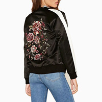 American 2017 Women Back Floral Embroidery Jacket Coats Stand Collar Long Sleeve Pocket Casual Brand Tops