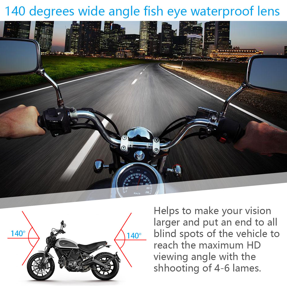 Fodsports 3 Inch DV168  Motorcycle DVR Motorbike Video Recorder 3