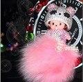 15 cores Cristal Bonecas Monchichi verdadeira pele pom pom keychain corrente chave do carro monchhichi mulheres bolsa charme bolsa pingente de porte clef