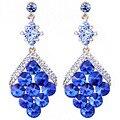 Na moda da escala de Peixes em forma de brincos de cristal brincos longos para as mulheres do casamento prom jóias acessório