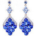 Trendy Fish scale shaped crystal earrings long earrings for women wedding prom jewelry accessory