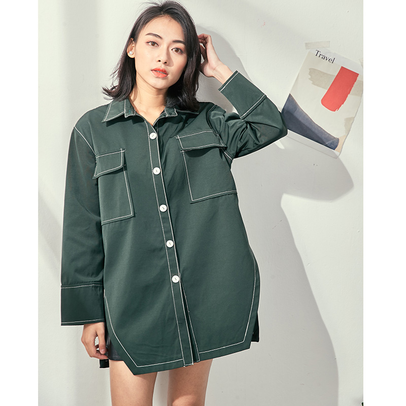 80d1c01f221d Cheerart Spring 2018 Green Shirt Women Loose Long Sleeve Blouse Pocket Top  Femme Button Down Shirt Korean Style Fashion Clothing-in Blouses   Shirts  from ...