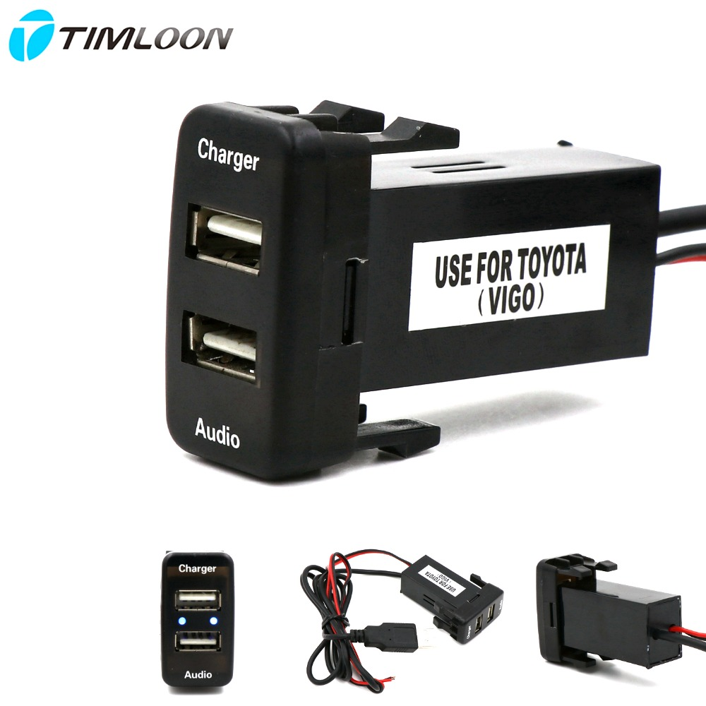 Car 5V 2.1A USB Interface Socket Charger and USB Audio input Socket use for TOYOTA Hilux VIGO,Coaster,Corolla ex,Yaris,Reiz