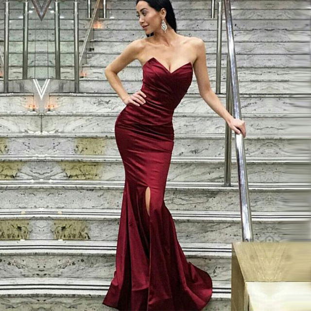 BeryLove Simple Mermaid Burgundy Evening Dresses 2019 Slit Satin Prom  Dresses Styles Evening Gowns Formal Dress Prom Party Gowns 35c404dfb86e