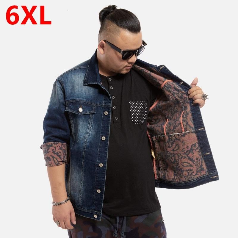 Men's plus size clothing denim jacket fashion fat casual outerwear jacket Big yards denim jacket men