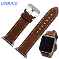 23mm genuino bandas reloj de cuero marrón pulsera para apple iwatch serie 1/serie 2 38mm 42mm leater pulsera inteligente