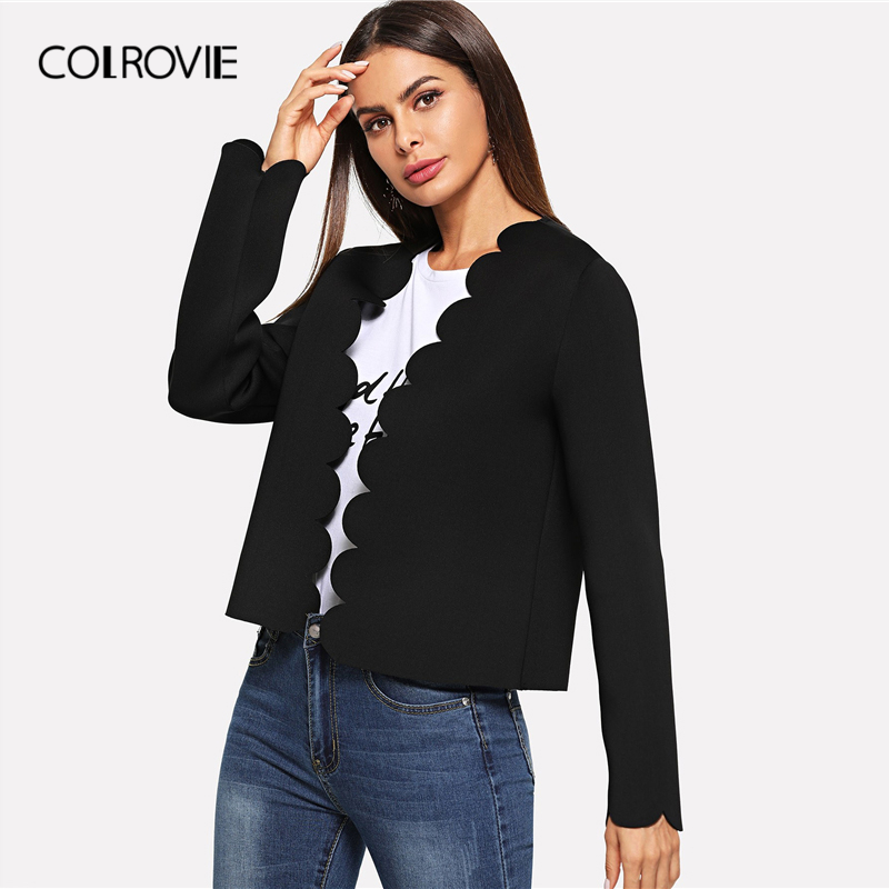 Image 3 - COLROVIE Black Solid Scallop Trim Bolero Casual Women Blazer Feminino 2019 Spring Office Ladies Coats Elegant Outerwear Coat-in Blazers from Women's Clothing