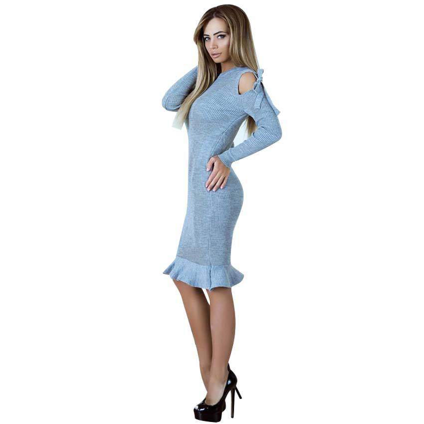 Knitted Women Knee Dress Ruffle Off The Shoulder Tie Bandage Round Neck Long Sleeve Vestidos De Festa 2017 Dreesses WS4683U stylish round neck long sleeve stereo flower embellished knitted dress for women