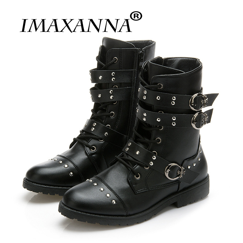 IMAXANNA Army Boots Men Military Leather Combat Metal Buckle Male Motorcycle Punk Boots Men's Shoes Rock Zapatillas Deprtivas