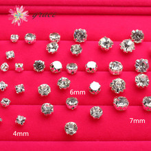 100pc/lots 4mm/6mm/7mm Strass Rhinestone Stone With Claw Golden Silver Base For Sewing Bridal Dress Decorate Hair Jewelry Making