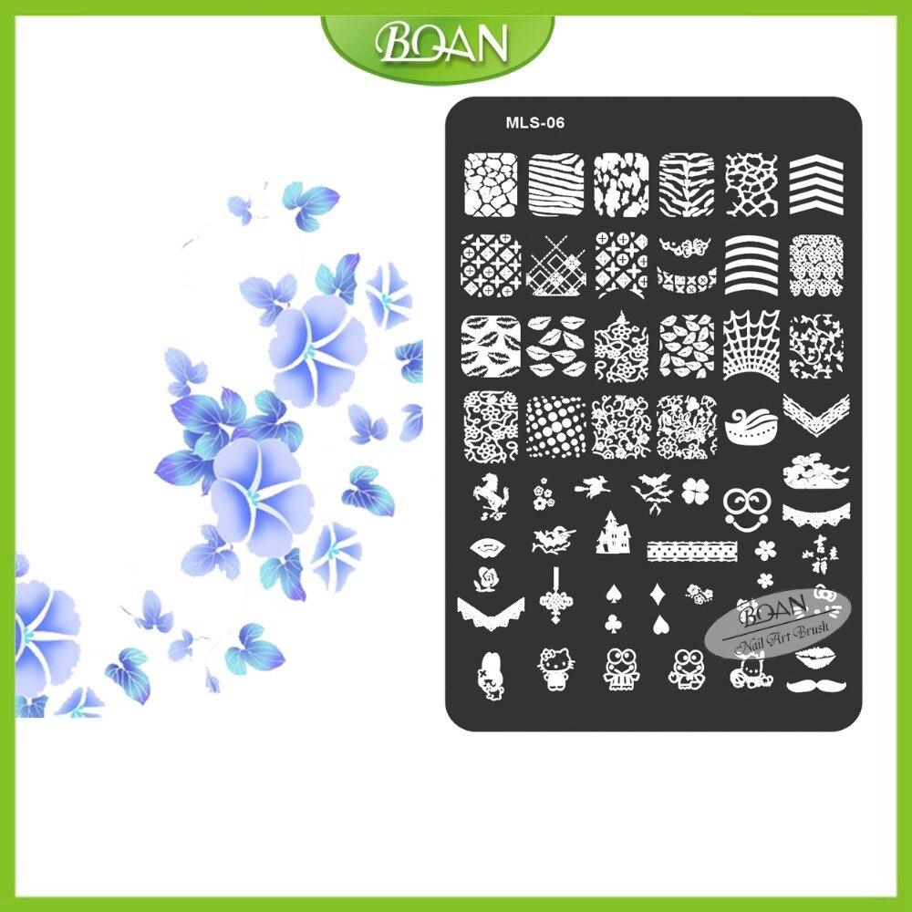 10PCs/set BQAN Stainless Steel  Free Shipping Fair Lips/Frog/Kitty Patterns Nail Plate Stamping Kit MLS06