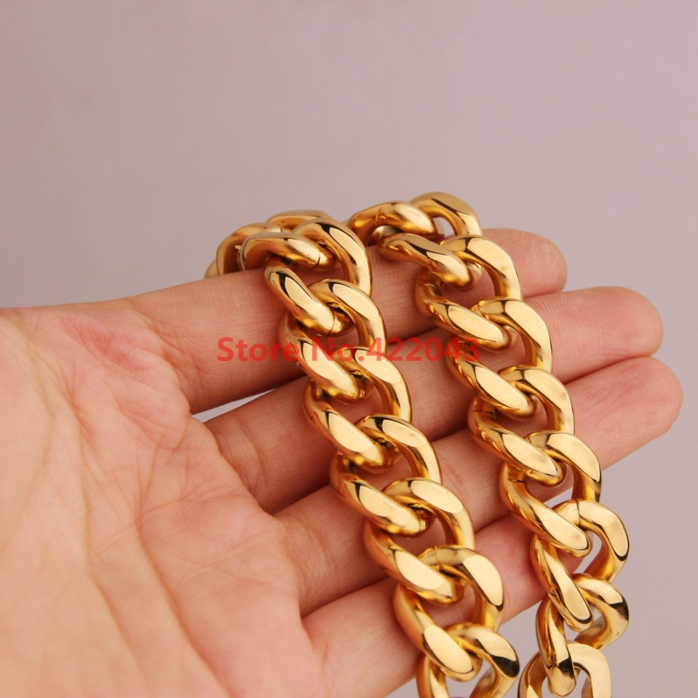 ccab6abc8 ộ_ộ ༽Charming 11/15mm Men's Chain 316L Stainless Steel Gold color ...