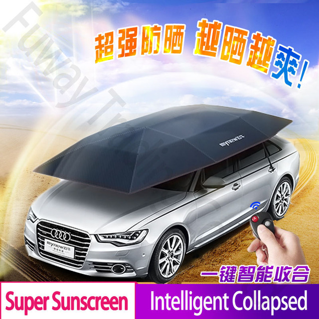 DHL Free Shipping!!New Arraival Automatic Car Parasols Sunshade Remote Control Umbrella Nano Telescopic Body Car Covers