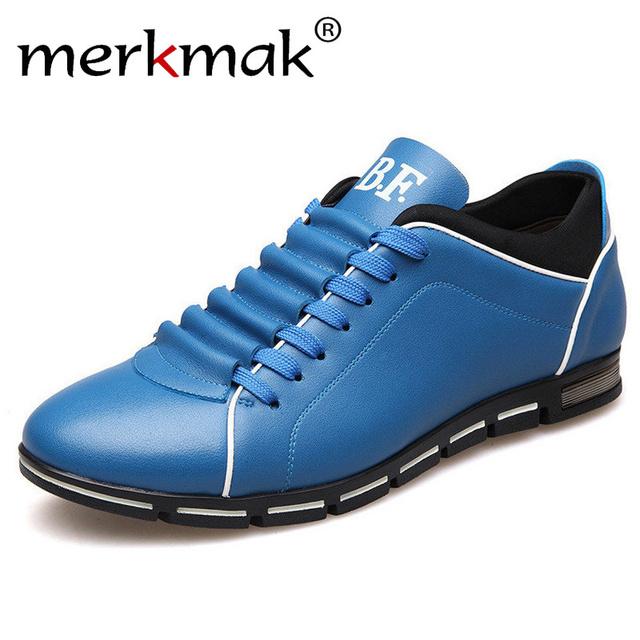 Merkmak gran tamaño 38-48 de cuero de moda para hombres casuales planos de verano