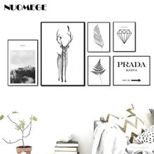 Nordic Style Landscape Poster Print Minimalist Wall Art Canvas Painting Deer Feather PRADA Picture for Living Room Home Decor(China)