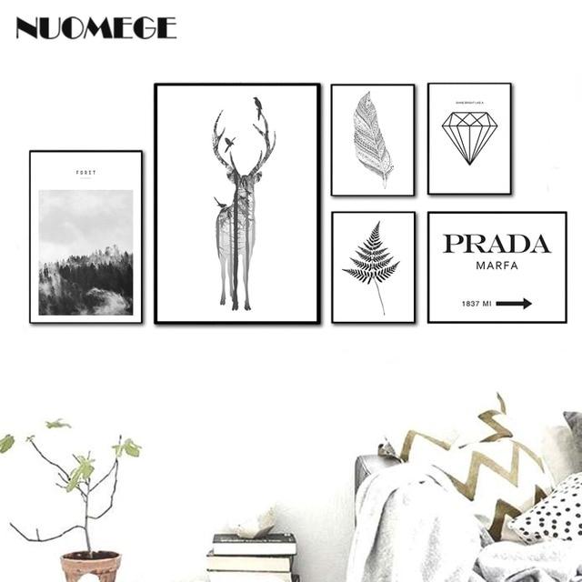 Nordic Style Landscape Poster Print Minimalist Wall Art Canvas ...