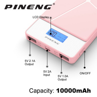 Pineng Power Bank 10000mAh LED External Battery Portable Mobile Fast Charger Dual USB For IPhone 6s