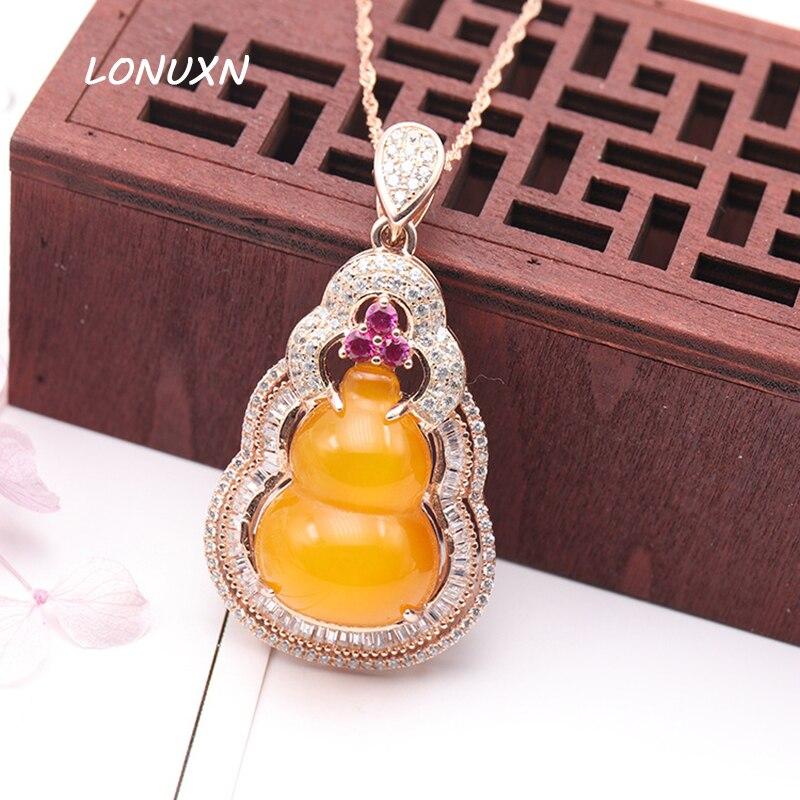 Femmes bijoux gourde pendentif avec chaîne 925 Collier En Argent Sterling haute-fin Jaune calcédoine naturel semi-précieux pierres