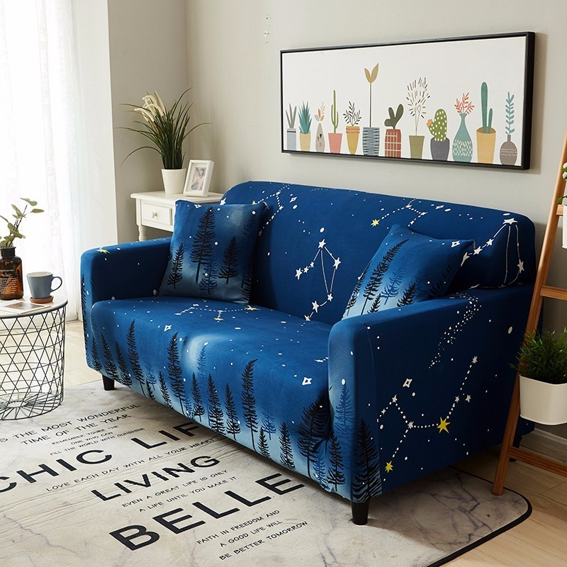 Us 4 19 58 Off Starry Sky Galaxy Print Sofa Cover Night Forest Couch Wrap Slip Resistant Single Double Three Four Seat Slipcover In
