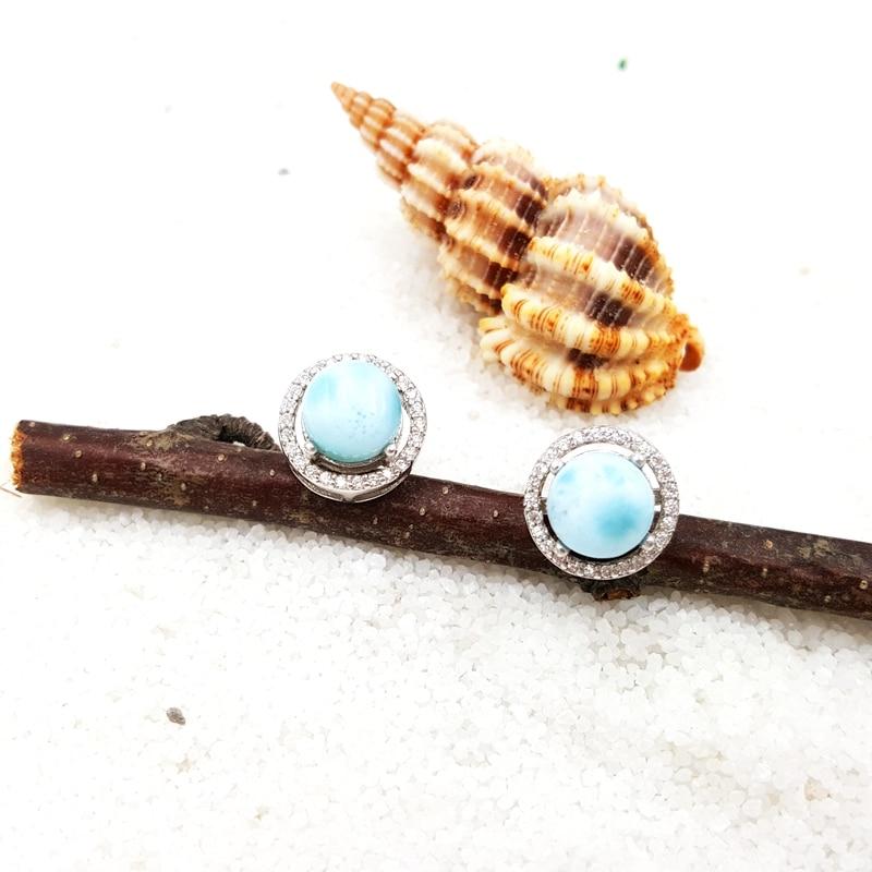 Lii Ji naturel pierre précieuse Larimar classique luxe brillant Zircon réel 925 Sterling argent Stud boucle d'oreille pour femmes bijoux de mariage - 4