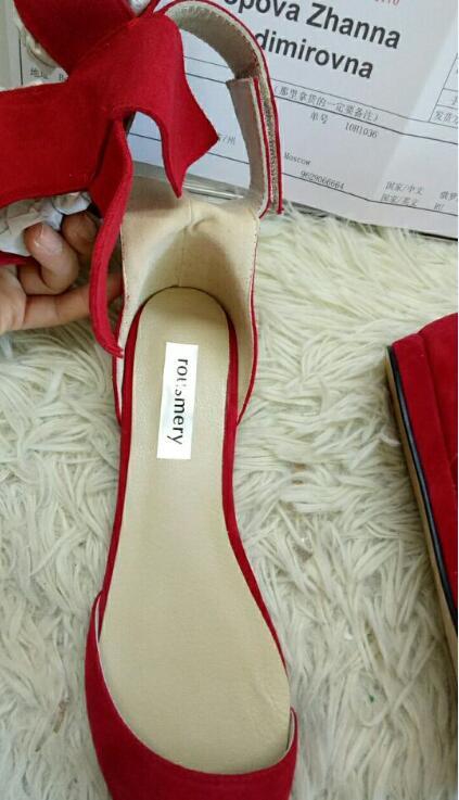 Gran Bowtie Corbata de tobillo Sandalias de gladiador Mujeres Rojo - Zapatos de mujer - foto 5
