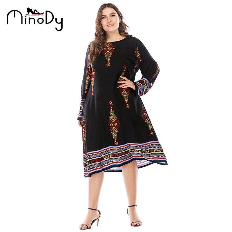 MINODYA Plus La Taille Robe Casual Fasion Impression A-ligne D'été Bohême Robe Noir Empire Ligne Manches Longues O-cou Vêtements 2082