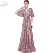 Walk Beside You Evening Dresses Rose Gold Sequined Pleat Half Sleeves Deep V-neck Long Prom Gowns Vestido Fiesta Noche Elegante