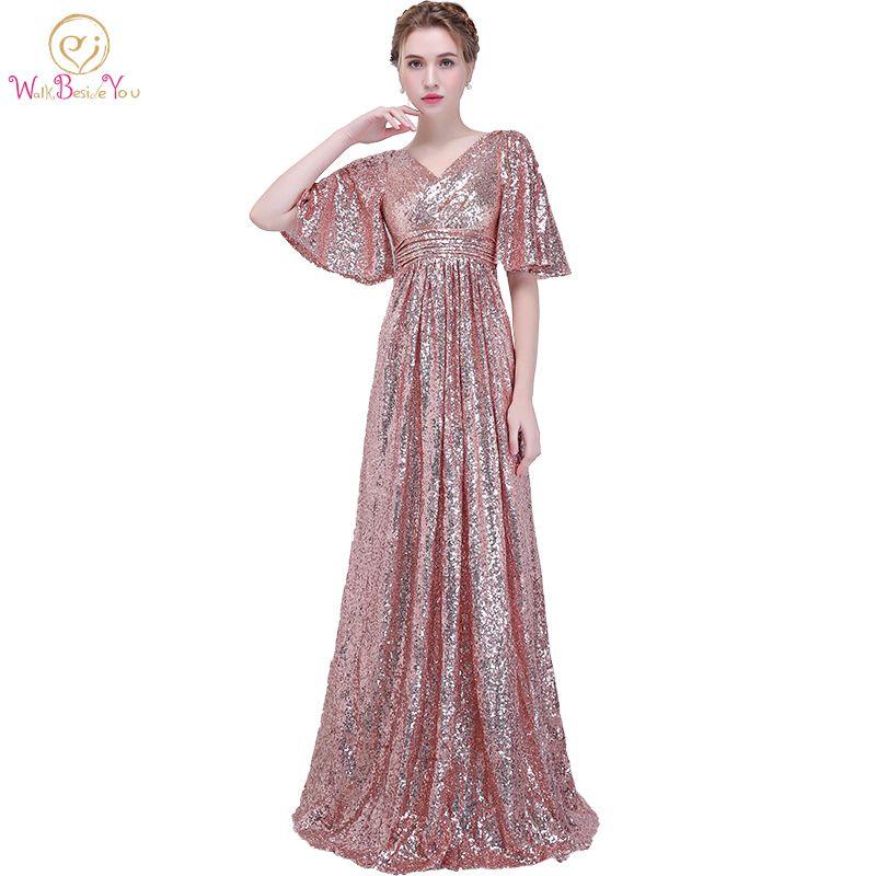 Walk Beside You   Evening     Dresses   Rose Gold Sequined Pleat Half Sleeves Deep V-neck Long Prom Gowns Vestido Fiesta Noche Elegante