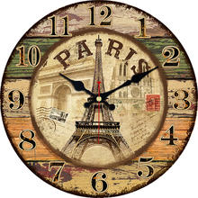 WONZOM Paris Tower 6-16 Inch Wooden Cardboard Wall Clock,Silent & Non-Ticking Feature,Antique Style For Kitchen Office Home original xiaomi mijia mute movement round wooden wall clock non ticking simple style home kitchen office decoracion wall clock