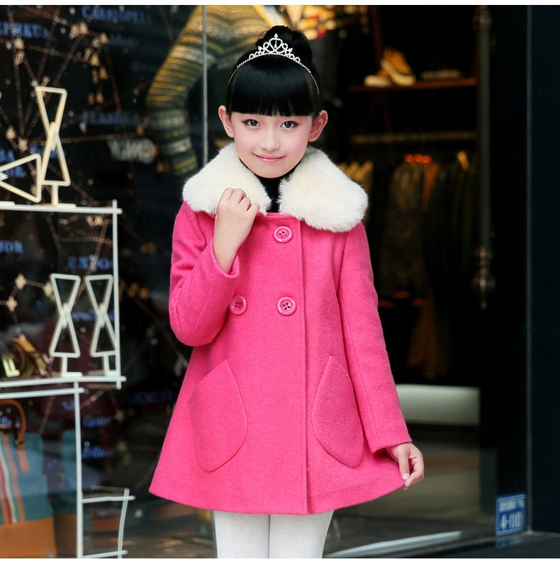 Autumn and Winter In Korean Girls Children New Wool Coat Kids Clothing 2 Colour