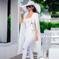 Spring And Autumn Fashion New Women Sleeveless Vest Open Stitch Long Jacket Thin Outwear Casual Elegant