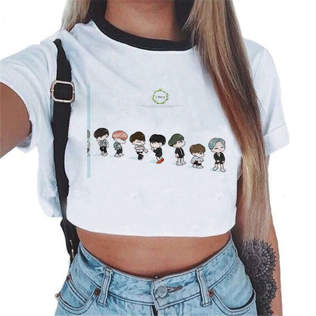 62424fcce9e693 BTS BANGTAN JHOPE SUGA JUNG KOOK cartoon cropped t shirt sexy cool  streetwear short tshirt print Plus size short sleeve tee top