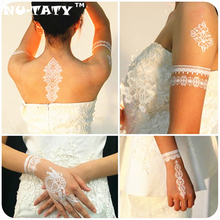 NU-TATY Wedding Bride Styling White Lace Temporary Tattoo Body Art Flash Tattoo Stickers 21x15cm Waterproof Henna Wall Sticker