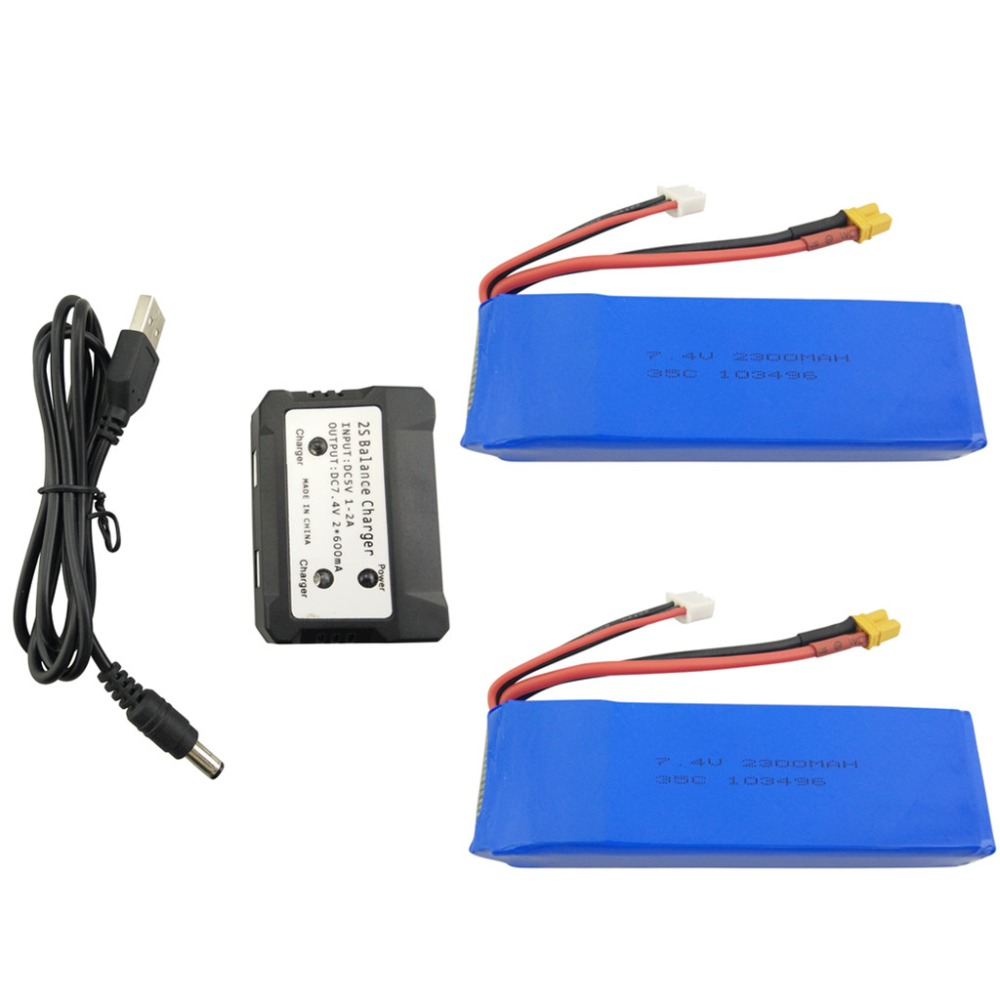 2PCS 7.4V 2300mAh Lithium Battery with 1 Charge 2 Charger for MJX B6 B6W B6F B6FD B8 BUGS 6 BUGS 8 Upgrade Battery 2pcs 7 4v 1800mah model battery with 2 in 1 euro charger for mjx b3 bugs 3 four axis aircraft spare parts uav lithium battery