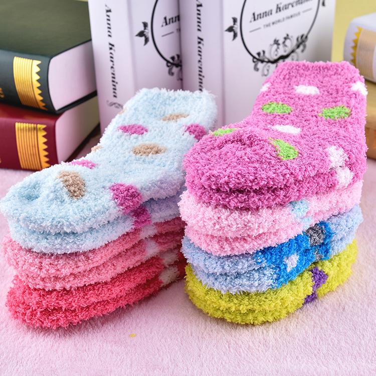 1 Pair Mid-calf Length Sock Winter Sweet Candy Warm Coral Fleece Baby Socks  Soft Warm For 3-8 Years Children