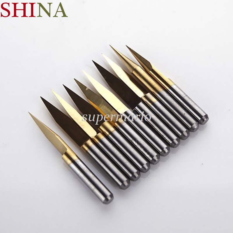 10pcs /5pcs/1pc Titanium Coated Milling Cutters Carbide PCB Engraving CNC Bit Router Tool 3.175*15 Degree 0.2mm Tip End Mill 10pcs 10 x 30 degree 0 1mm titanium milling cutters coated carbide pcb engraving bit cnc router tool tip end mill