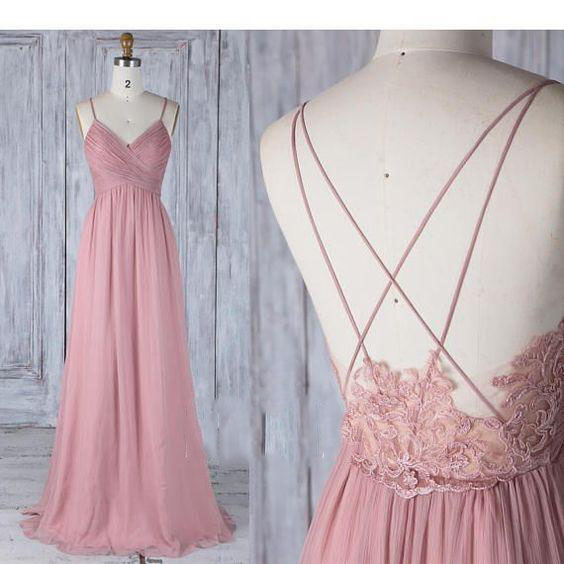 Bridesmaid     Dress   Dusty Rose Chiffon Wedding Party   Dress   2019 Spaghetti Straps V Neck Long Prom   Dress   Illusion Lace Low Back