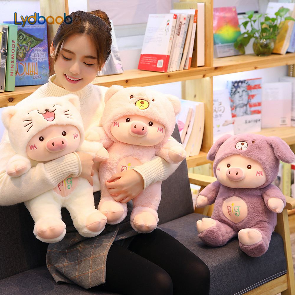 30/60cm Kawaii Pig Stuffe Plush Doll Cosplay Cat&Bear&Dog Toy Baby Soft Animal Pig Pillow Children Girl Birthday Christmas Gift