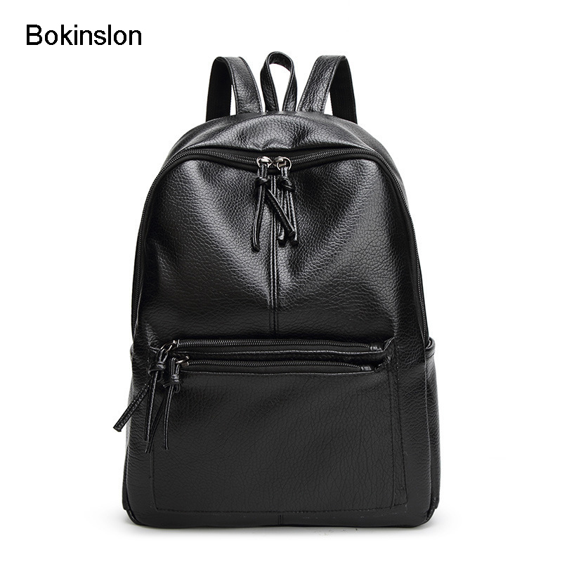 Bokinslon Woman Backpack School Bag Fashion Pu Leather Travel Backpack Bag Women Casual All-Match Female Bag блуза alice olivia alice olivia al054ewyzd40