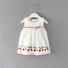 Dziewczynek ubrania nowe letnie sukienki dla dzieci wiśnie hafty sukienki dla dzieci noworodka dziewczyny Party Princess Dress 0 2Y