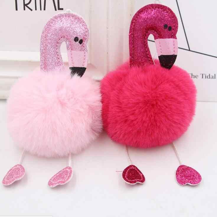 1pc pompom fofo dos desenhos animados flamingo pelúcia chaveiro bolsa chaveiro do carro para as mulheres chaveiro fivela chave jóias melhor presente 4 cores