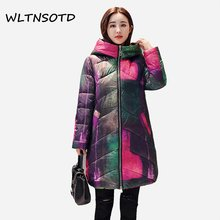 2018 winter new thick warm cotton coat women long Loose hooded large size printing Graffiti Female fashion Parkas