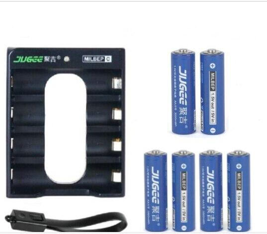 1.5 v 14500 lifepo4 Li-ion Jouets batteries 3000mWh 6 pcs JUGEE AA Li-polymère batterie au lithium rechargeable batterie + chargeur